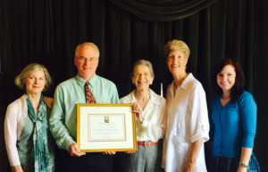 Catherine Howett receives the Award of Merit 2015. From left: Susan Hitchcock, Carleton Wood, Catherine Howett, Lee Dunn, Staci Catron