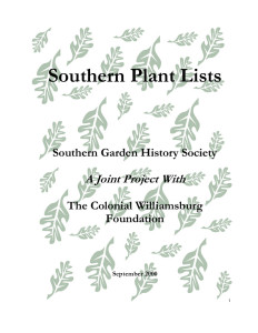 Southern Plant Lists