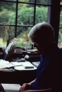 Photo of Elizabeth Lawrence at her studio desk overlooking her garden, circa 1978. Photo courtesy Warren Way and Elizabeth Way Rogers