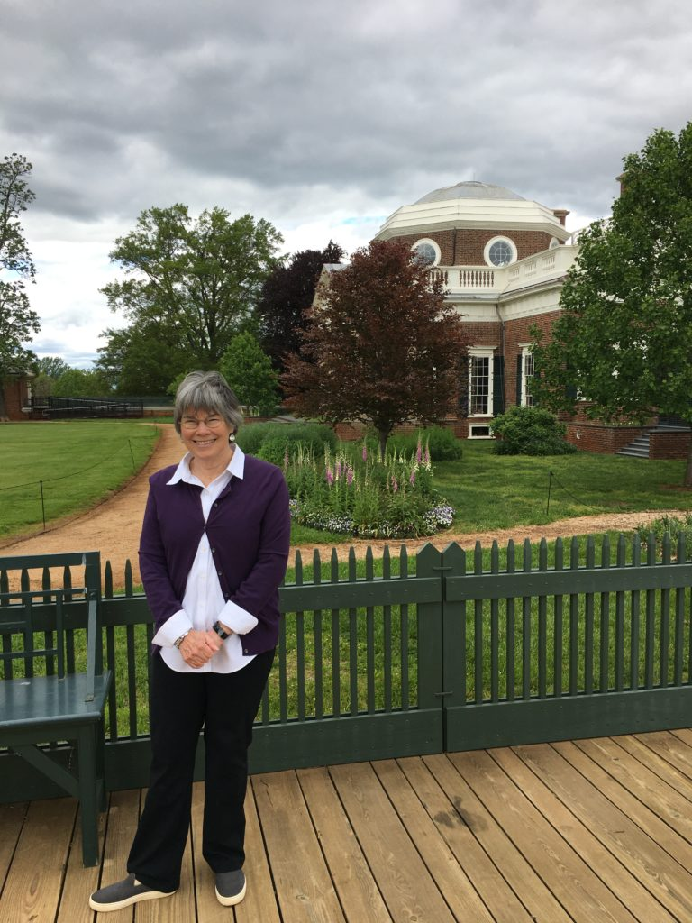 Peggy Cornett, South Terrace of Monticello, Spring 2020. Photo by Charlotte Devine
